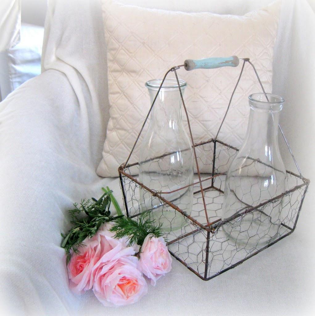 Vintage Wire Milk Basket….a behind the scenes.