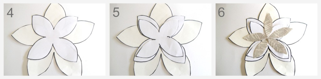 Paper magnolia tutorial place largest cut out first 5 glue second cut out on top in the position shown on figure no 5 6 glue the rest of the cut outs as shown on figure no6 maxwellsz