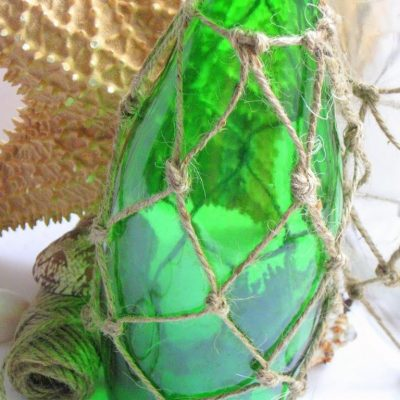 How to sew a fish net…Inadvertent Knotted jute Demijohn knockoff