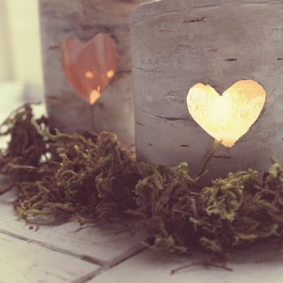 Faux birch lantern tutorial…and the little green eyed monster