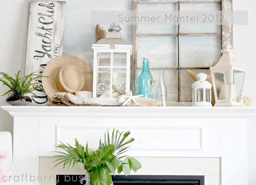 My summer mantel for Summer beach house decor