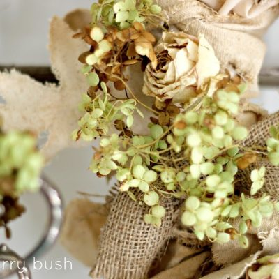 Burlap, canvas and hydrangeas….A Fall Wreath