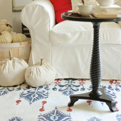 Ikat stenciled rug and a Cutting Edge Stencil Giveaway…