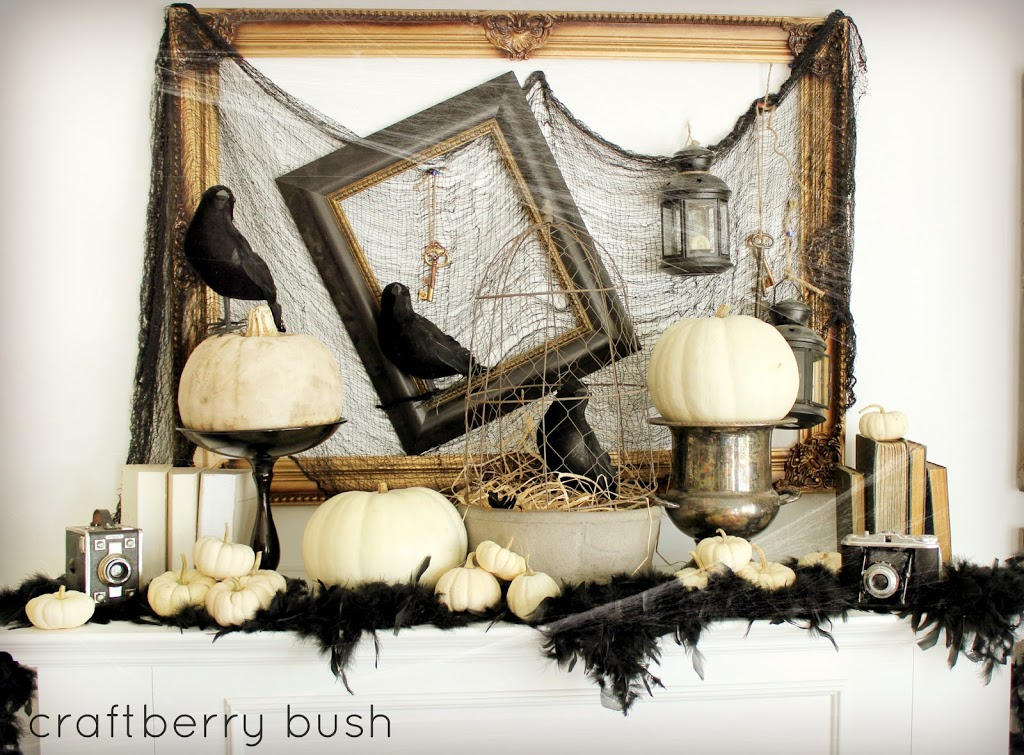 Halloween mantel and a linky party