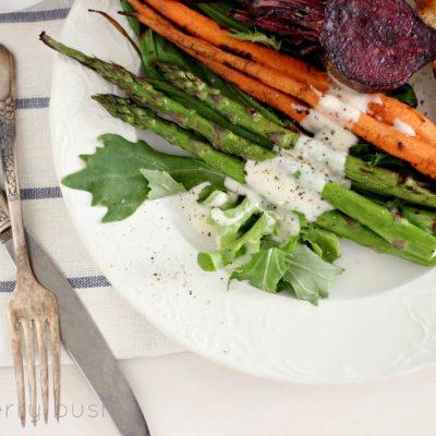 Grilled vegetable salad with yogurt dressing…
