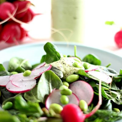 Radish edaname spinach with creamy avocado dill dressing or dip