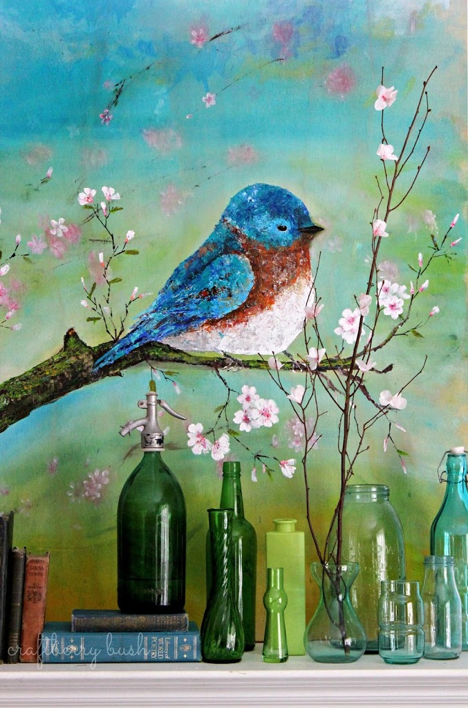 Palette Knife Acrylic Painting – Blue Bird