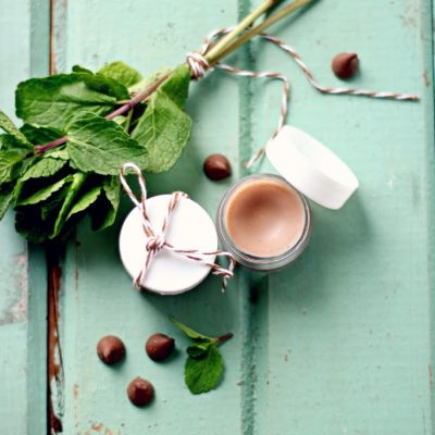 Chocolate mint homemade lip balm