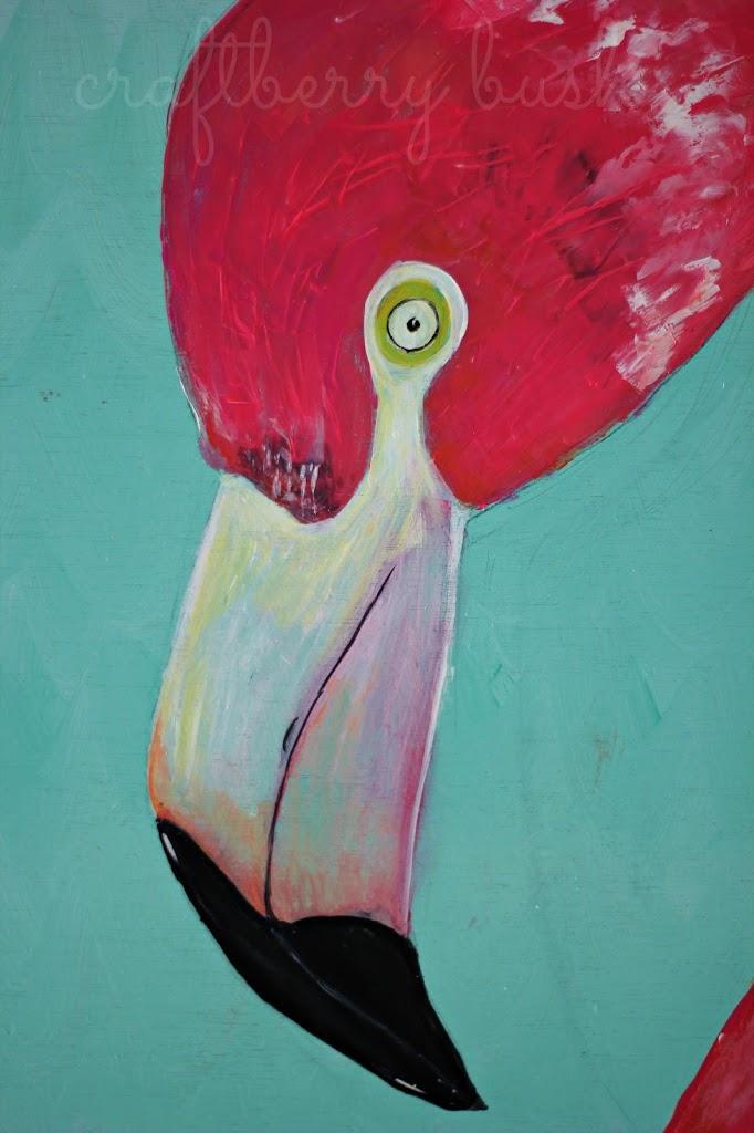 a pink flamingo  acrylic paint on wood
