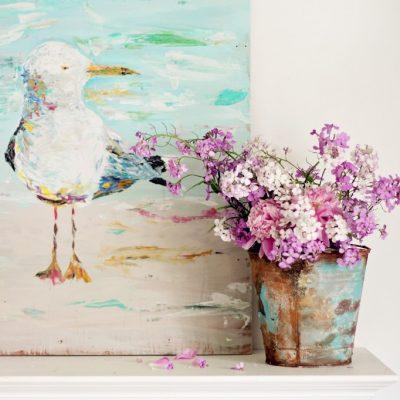 The Bird Lady – Acrylic Seagull on Wood Canvas