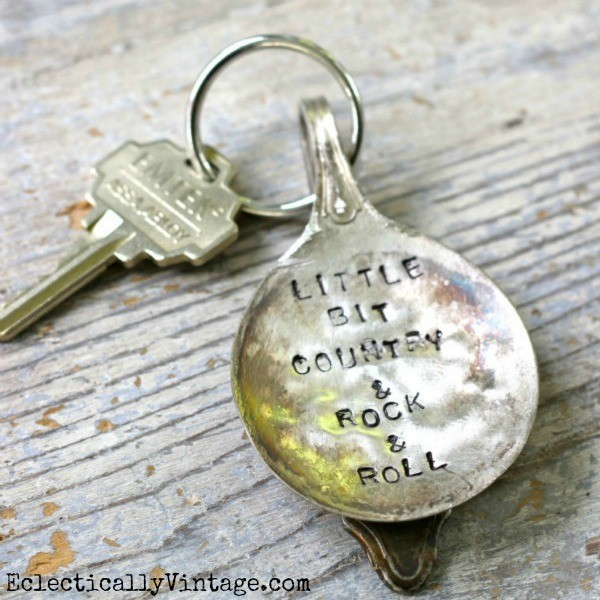 Stamped Silver Keychain eclecticallyvintage.com