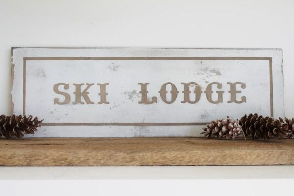 Handmade ski lodge sign