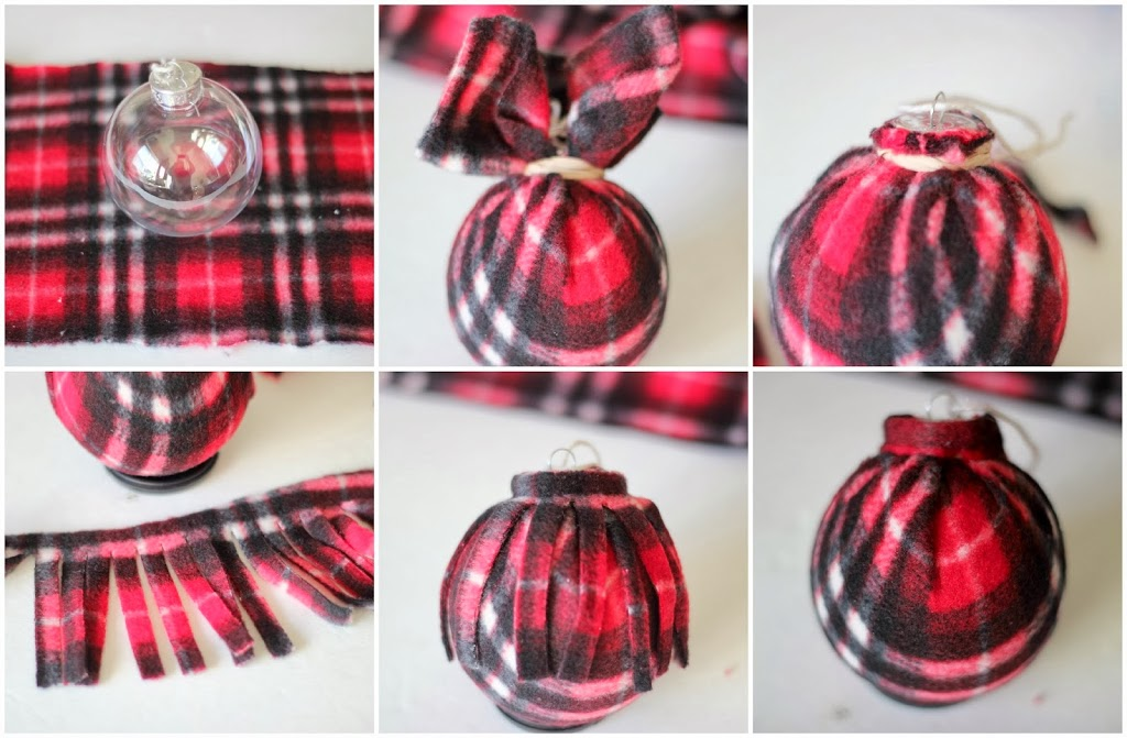 cut a piece of the scarf or fabric of choice twice as long and wide as the bulb - Christmas Plaid Scarf