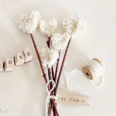 Heart shaped pompom bouquet