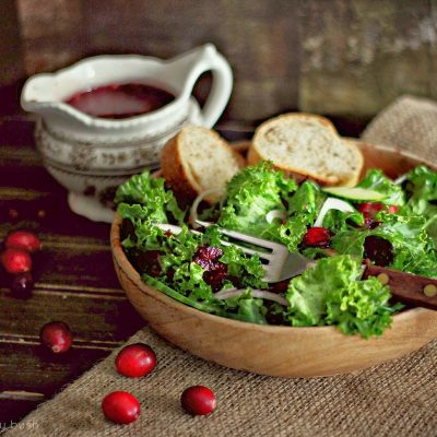 Sautee Kale Salad with Cranberry Dressing