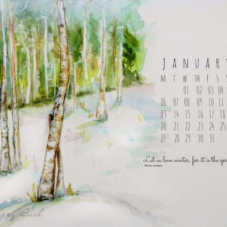 winterwatercolorcraftberrybushcalendarjanuary