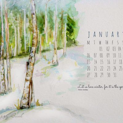 January Free Desktop Calendar