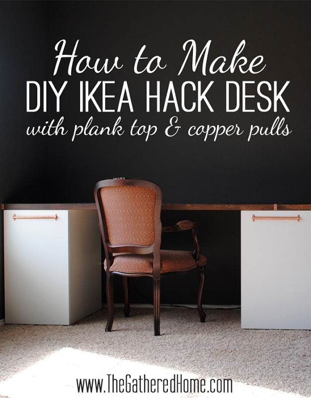 How To Make DIY Ikea Hack Desk with Plank Top and Copper Pulls[3]