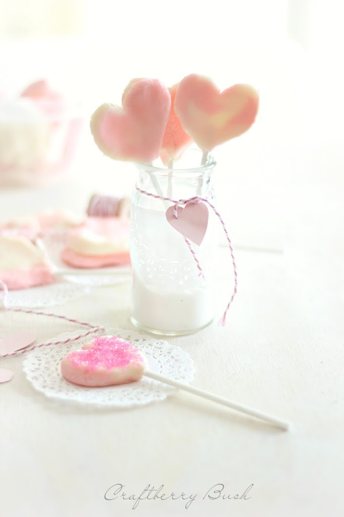 Cream cheese mint heart lollipops for your little Valentine