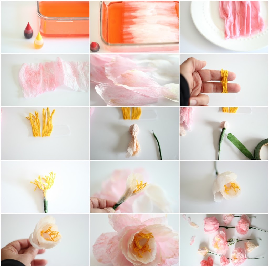 Crepe peony tutorial 1 add food coloring to a deep dish full of water i used three drops of red and two drops of yellow for the outer petals and three drops of yellow and mightylinksfo