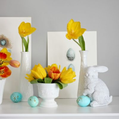 Simple Easter mantel