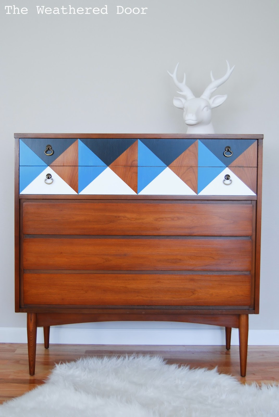 Diy modern vintage furniture makeover Pinterest Geometric Mid Century Dresser Wd1 Craftberry Bush The Inspiration Gallery Features