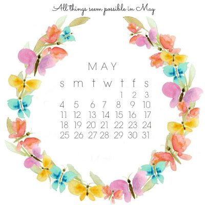 Free May Desktop Calendar and Watercolor Clipart