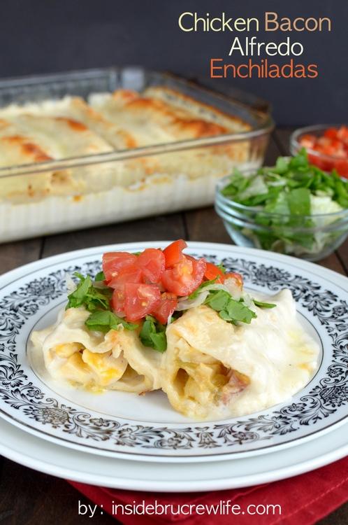 Delicious Summer Recipes : Chicken Bacon Alfredo Enchiladas
