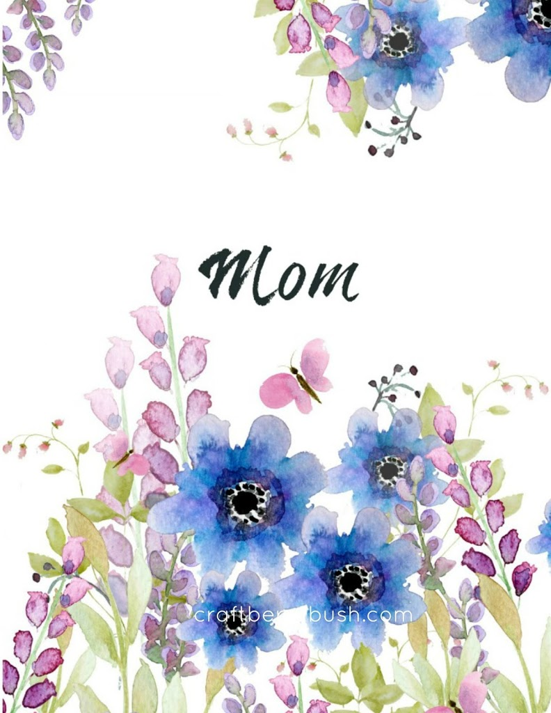 Free Mothers Day Watercolor Card Printables Blank Wisteria