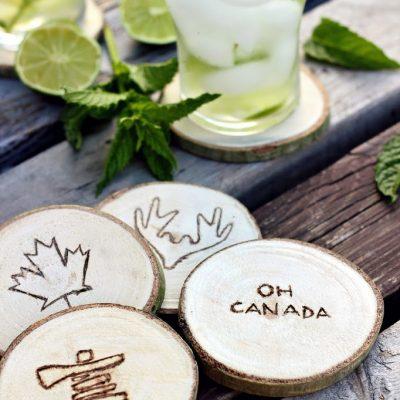Wood Slice Canadiana Coasters
