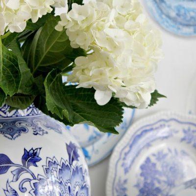 Blue porcelain on the mantel