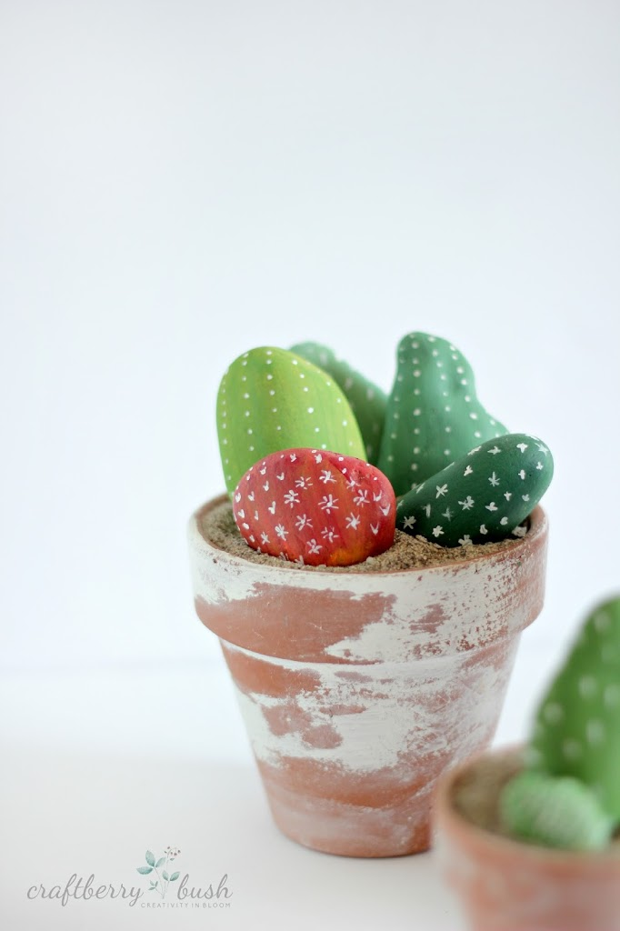 Cactus made out painted rocks