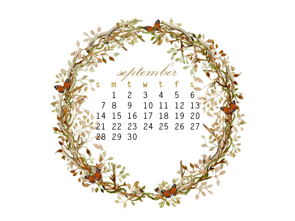 September free desktop calendar and new items for the shop