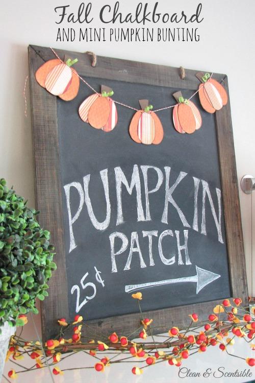 Fall in Love with Fall - Fall chalkboard and mini pumpkin bunting
