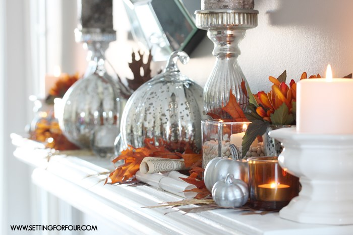 Fall in Love with Fall - Autumn mantel decor