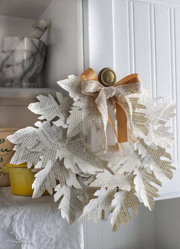 Fall in Love with Fall - Book page leaf autumn wreath