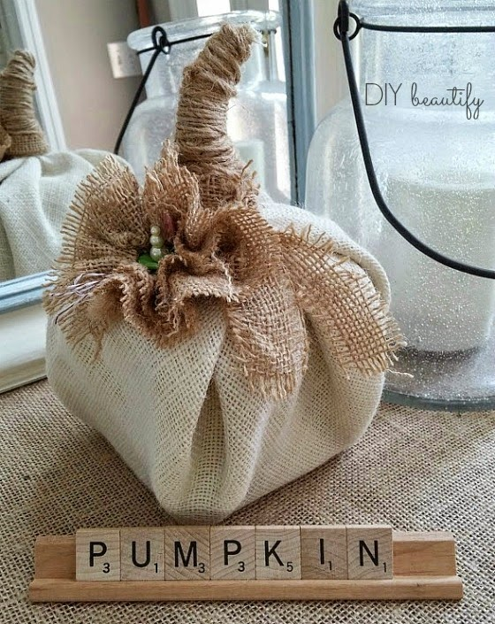 Fall in Love with Fall - DIY burlap pumpkin