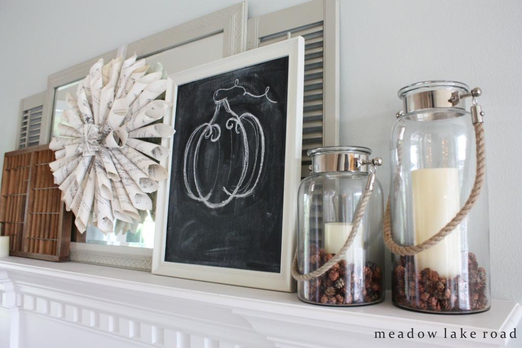 Fall mantel with chalkboard pumpkin