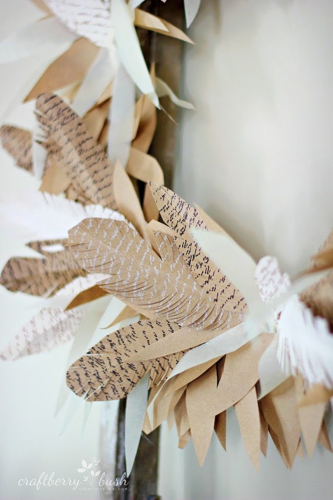 Paper feather fall wreath