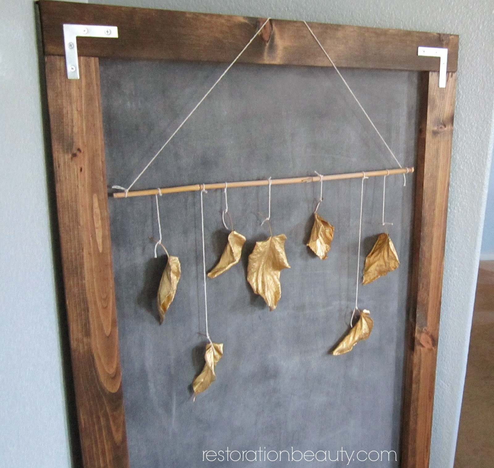 Spray painted gold leaves