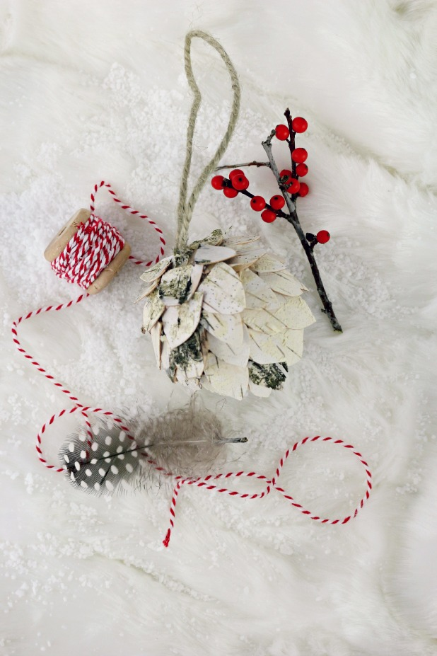 Birch Bark Pine Cone Ornament