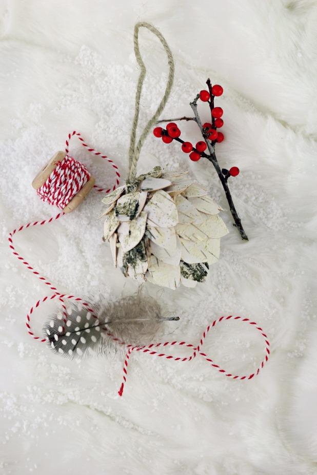 Birch Bark Pine Cone Ornament