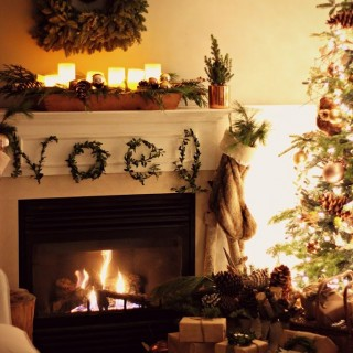 Christmasmantel2014eveningcraftberrybush2