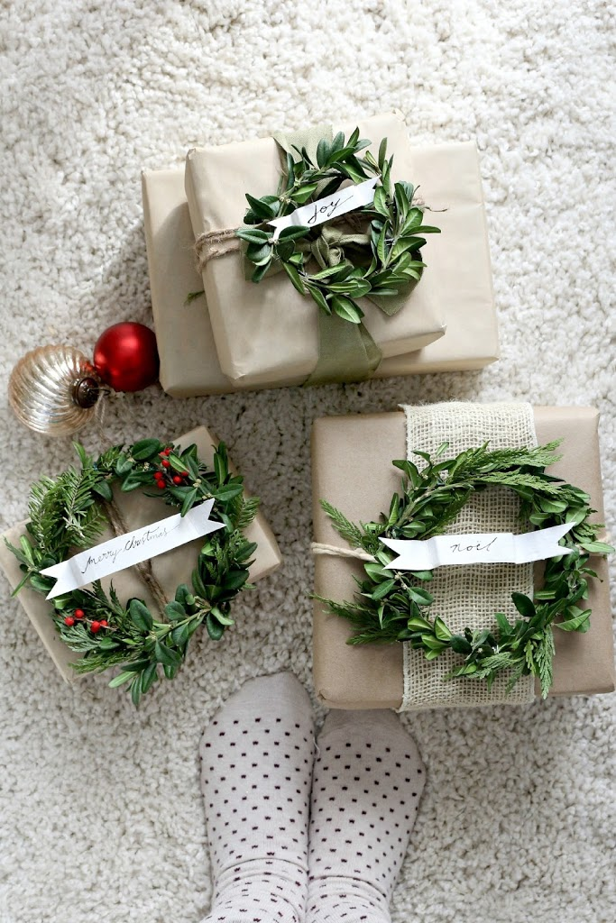 Craft paper and boxwood wreath gift wrap