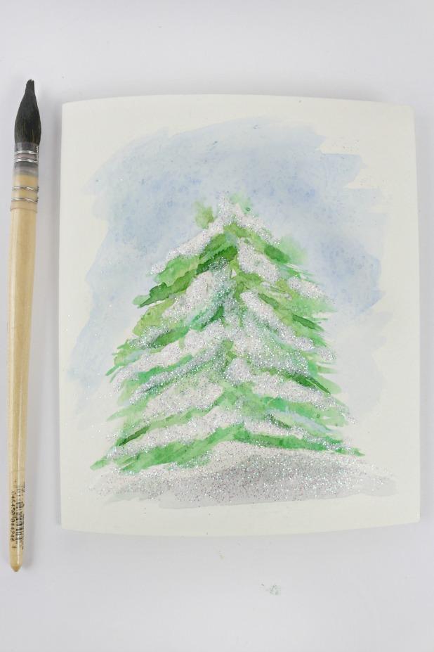 Snowy Pine Watercolor