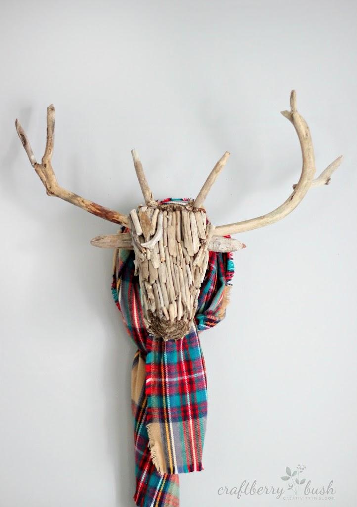driftwooddeerheadtaxidermywithscarfcraftberrybush1