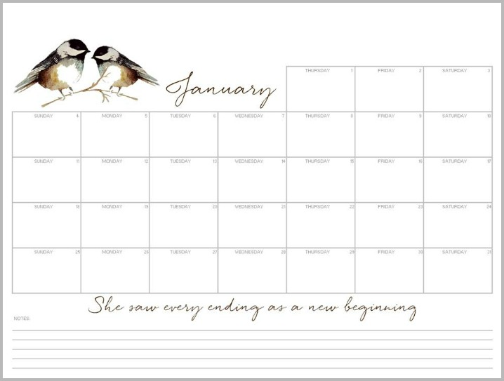 Weekly Calendar Desktop : January free desktop calendar and printable monthly planner