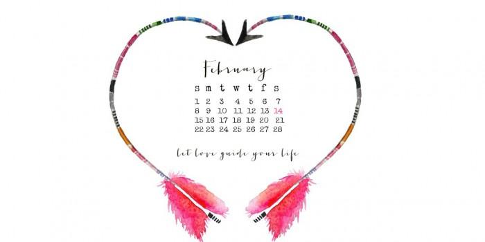 Free desktop February calendar