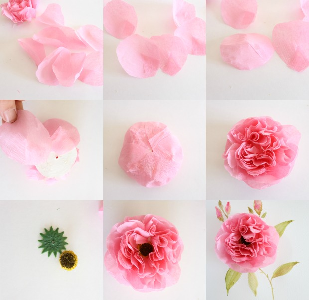 Crepe Paper Cabbage Rose Tutorial