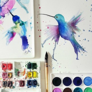 hummingbirdwatercolorcraftberrybush